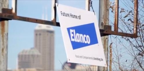 photo of downtown Indianapolis with sign that says future home of Elanco