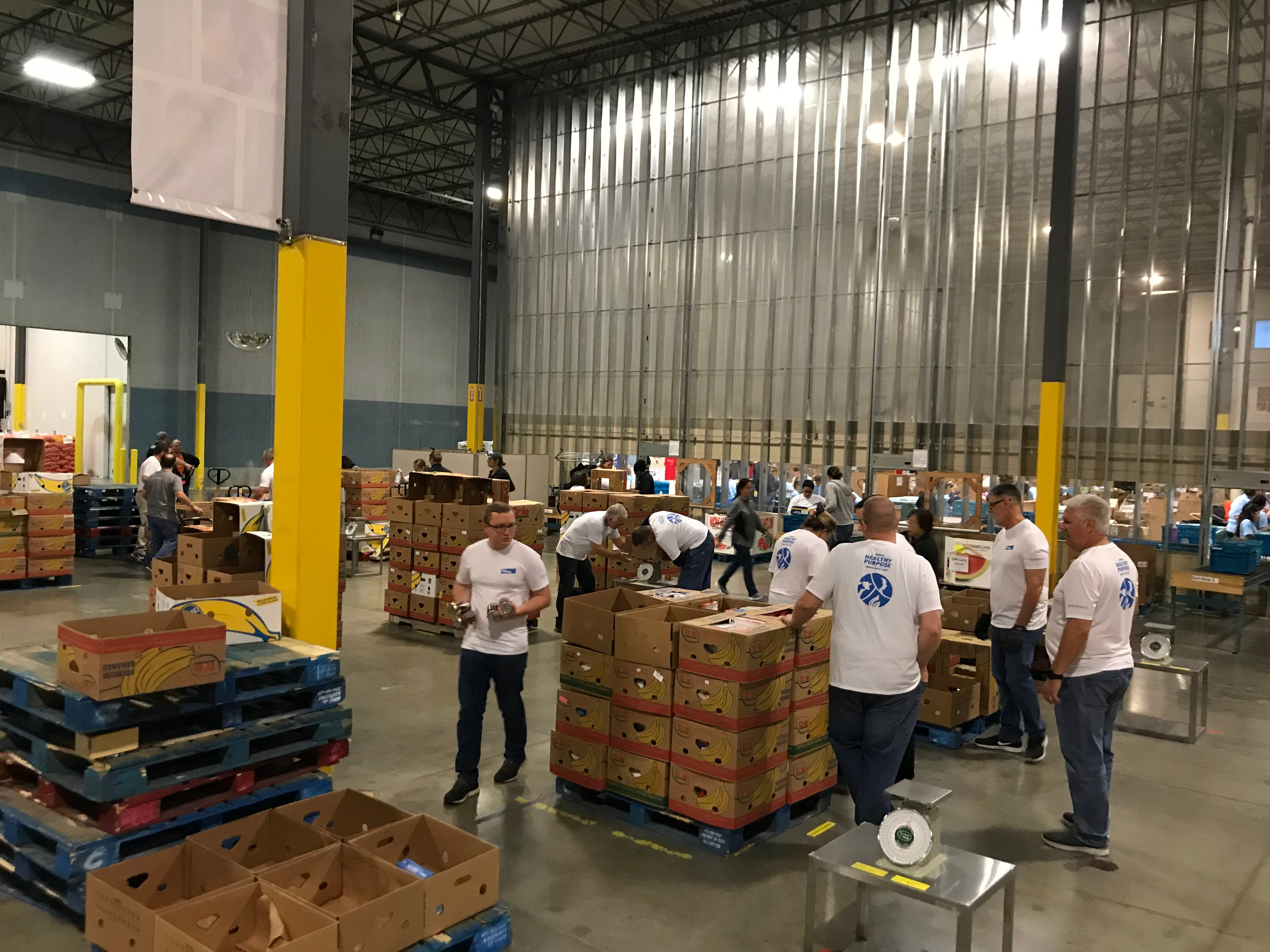 Elanco employees working in a food bank