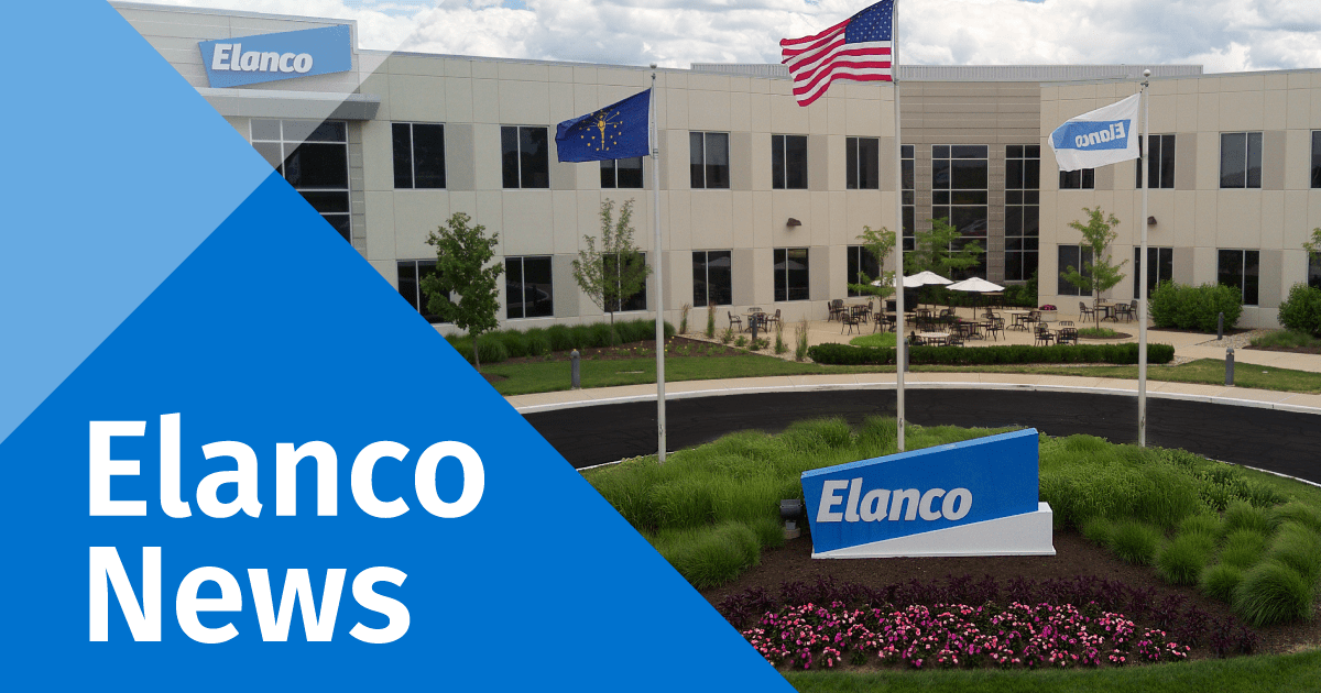 Elanco News icon with shot of G'field HQ and an Elanco News overlay