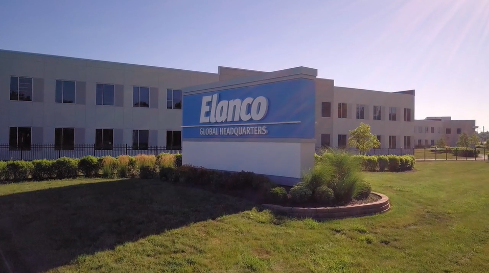 A shot of the Elanco sign outside of the Greenfield, IN headquarters