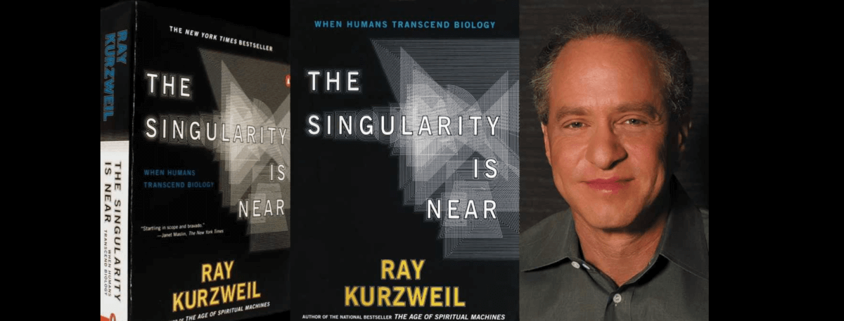 Front cover of book - The singularity is near by Ray Kurzweil