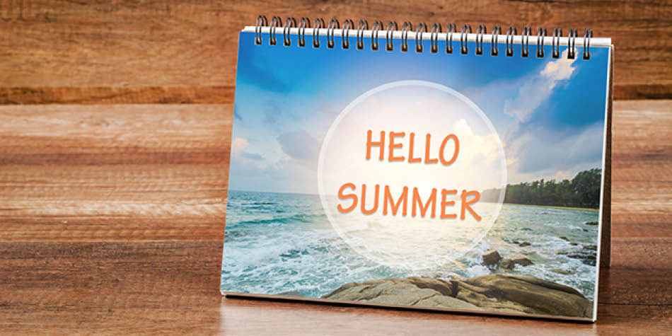 "Notebook that says ""Hello Summer"" on the cover"