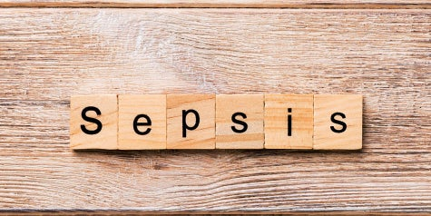 The word sepsis is written in block letters