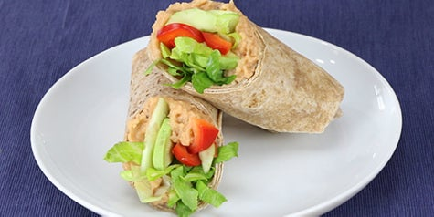 Hummus and avocado wraps.
