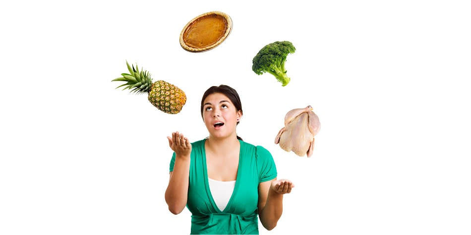 Girl juggling healthy and unhealthy foods