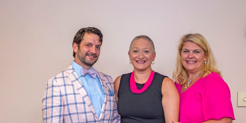 Dr. Drake, oncologist, with patient Rachel K and Kelly Ward