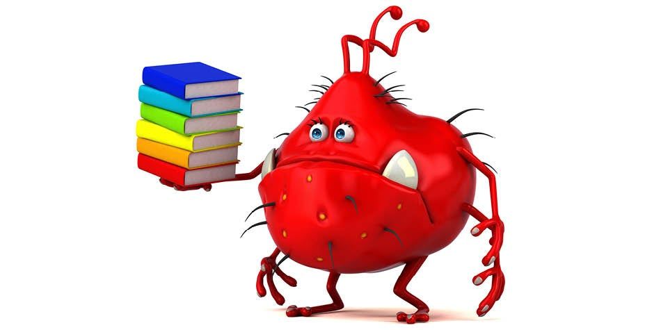 Cartoon of germ holding school textbooks looking sad.