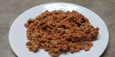 Ground chicken flavored with peanut butter and Thai spices