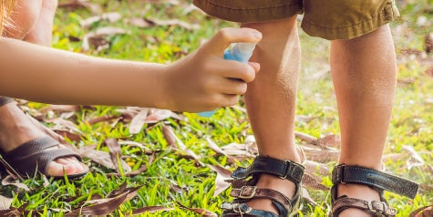 Parent spraying bug spray on son's legs.