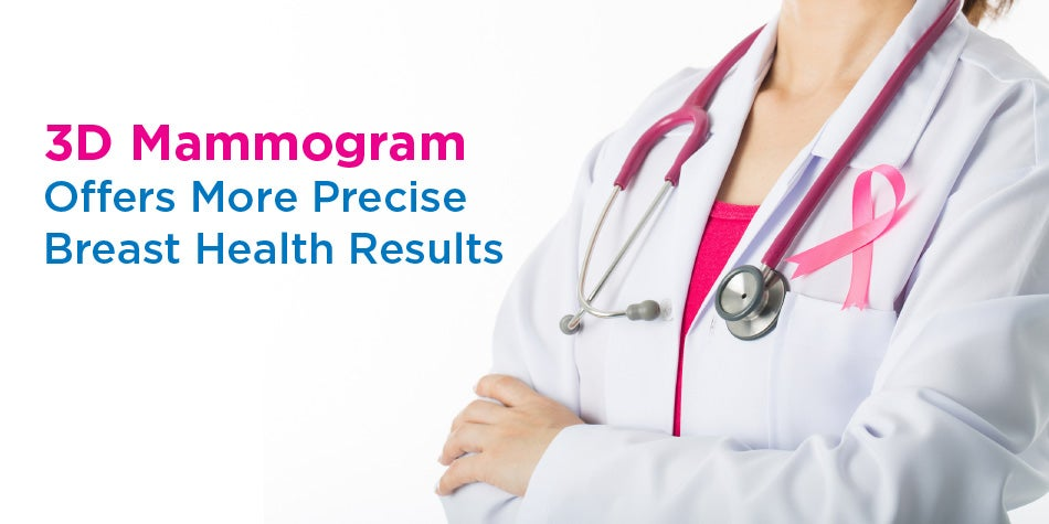 3-D Mammogram Offers More Precise Breast Health Results with doctor, stethoscope and pink ribbon