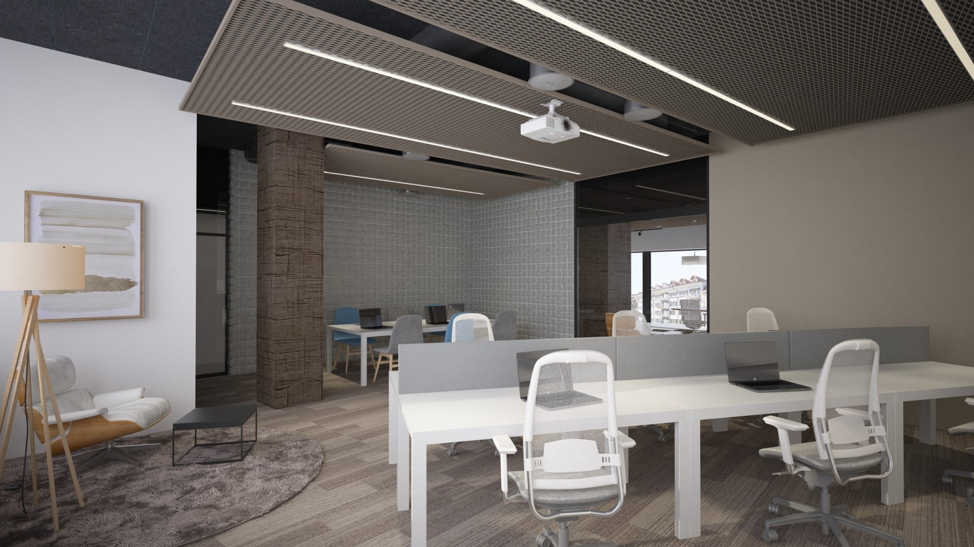 Arbeitsplätze mit Tischen und bequemen Stühlen in der Quiet Zone