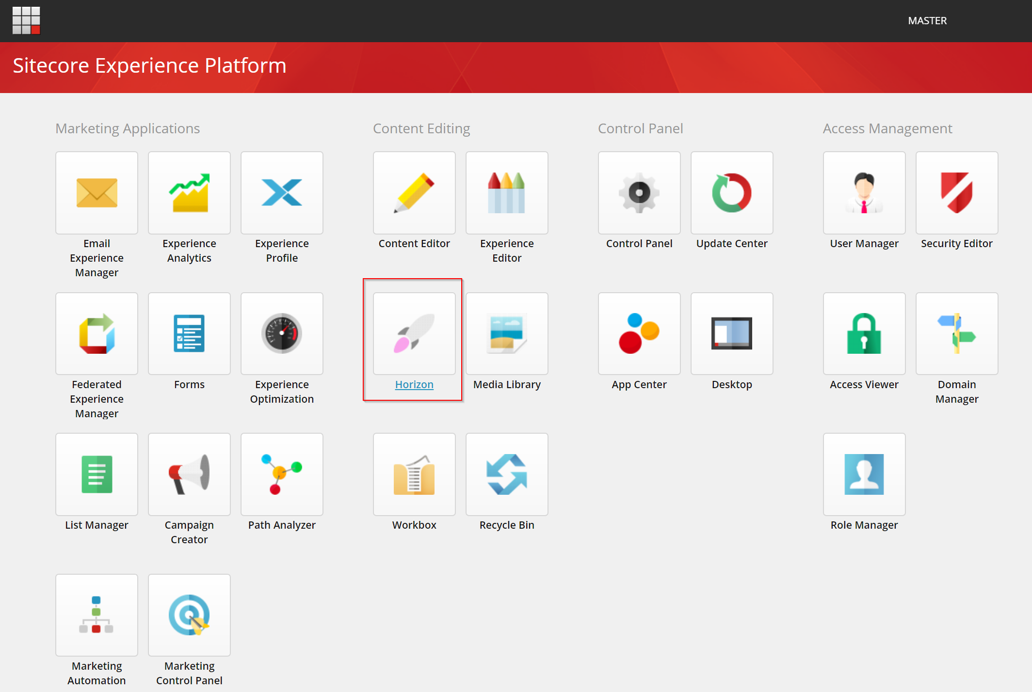 The Sitecore Launchpad with the Horizon icon