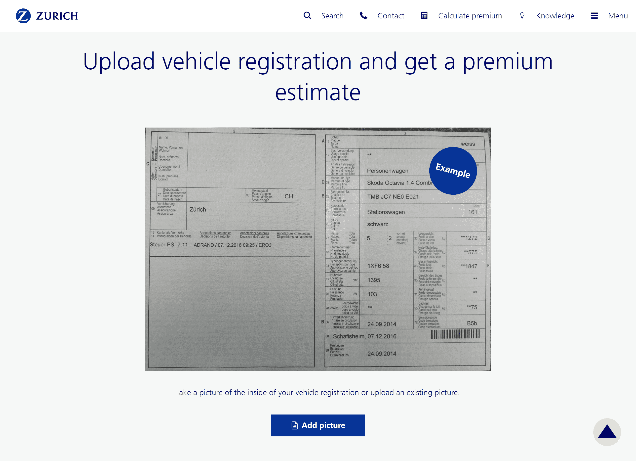 Screenshot that shows the quote component on the zurich.ch website