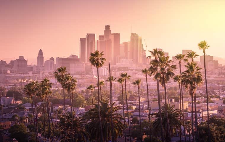 skyline view of los angeles california