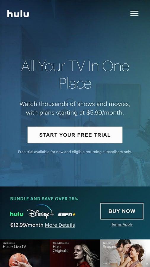 Screenshot of Hulu mobile site