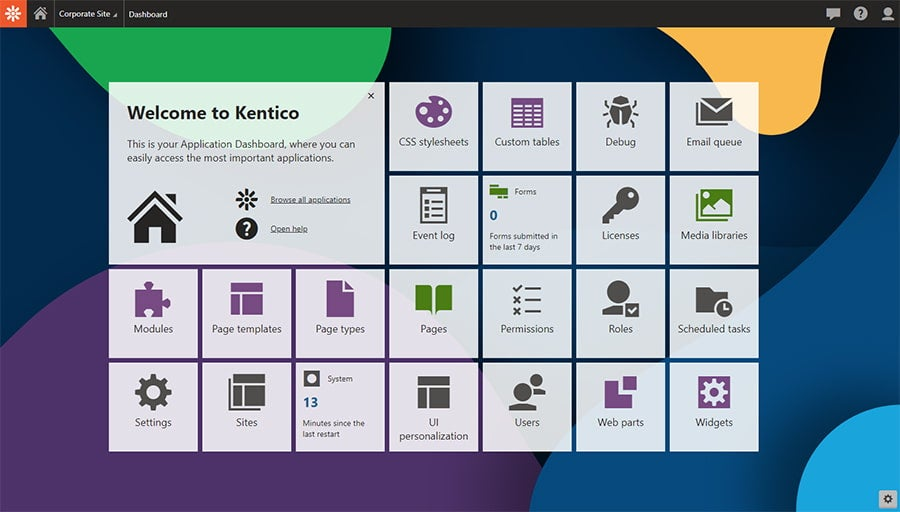 Kentico 12 dashboard