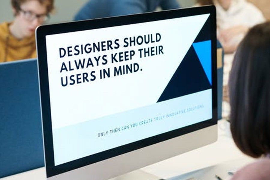 Onscreen message about design guidelines