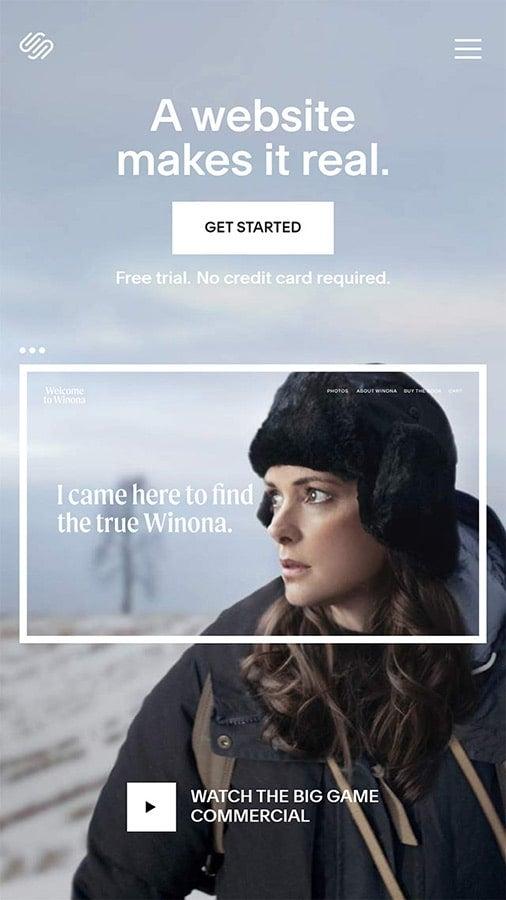 Screenshot of Squarespace mobile site