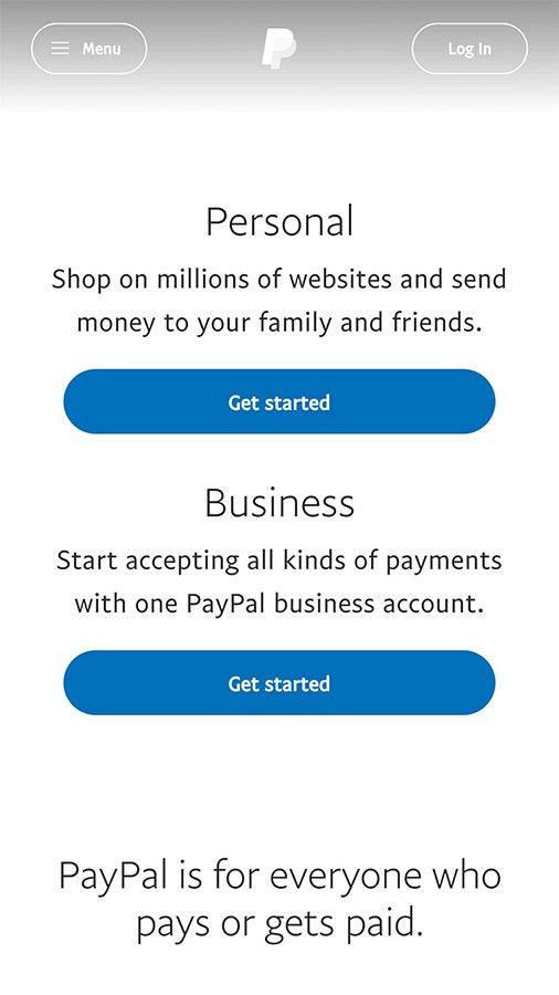 Screenshot of Paypal mobile site