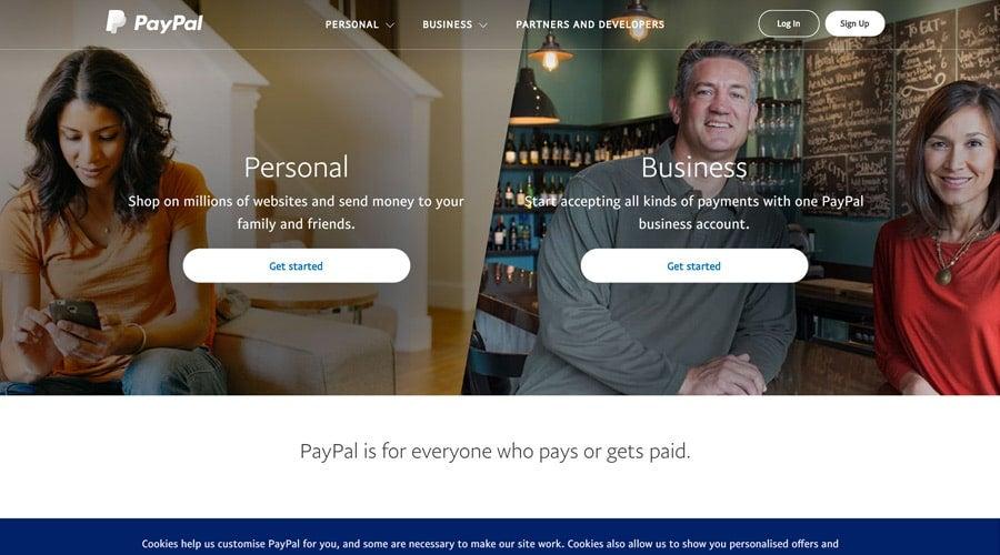 Screenshot of PayPal website