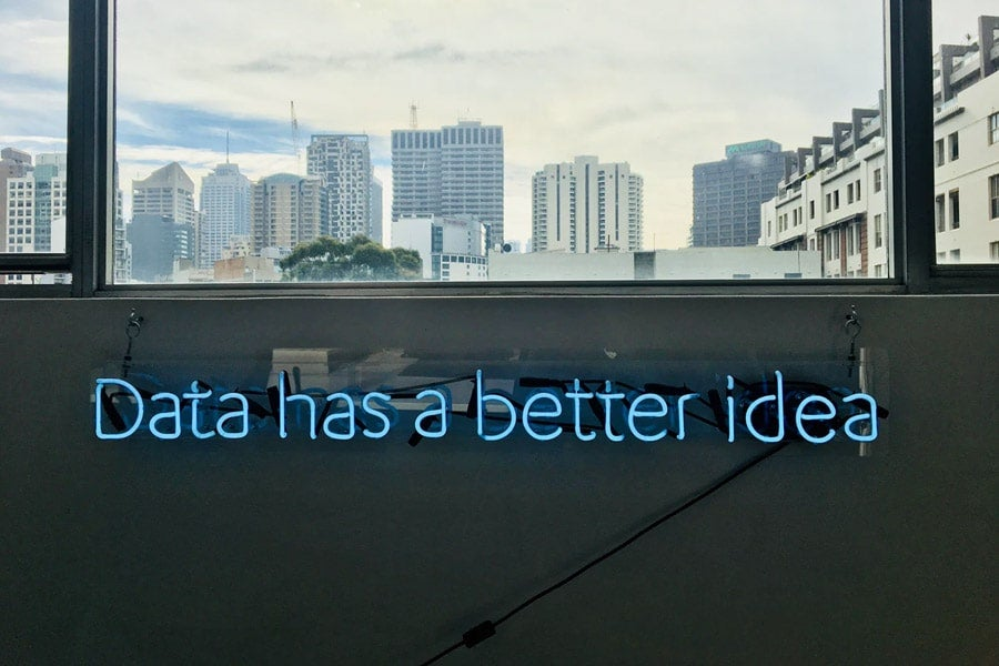 A sign with 'Data has a better idea' written on it