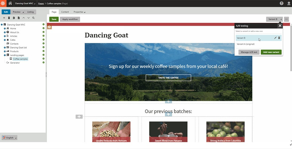 Kentico Dancing Goat demo