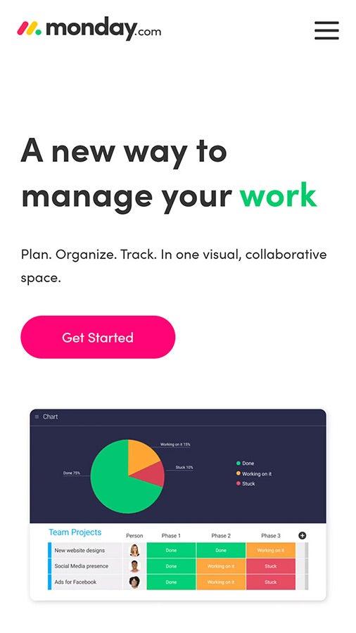 Screenshot of Monday.com mobile site