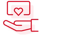 icon hand holding a card with a heart