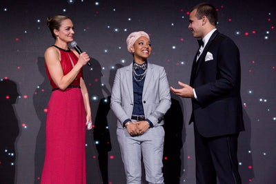 Katharina Harf with Marcus and Matene the first time the met on stage at the 2018 gala.