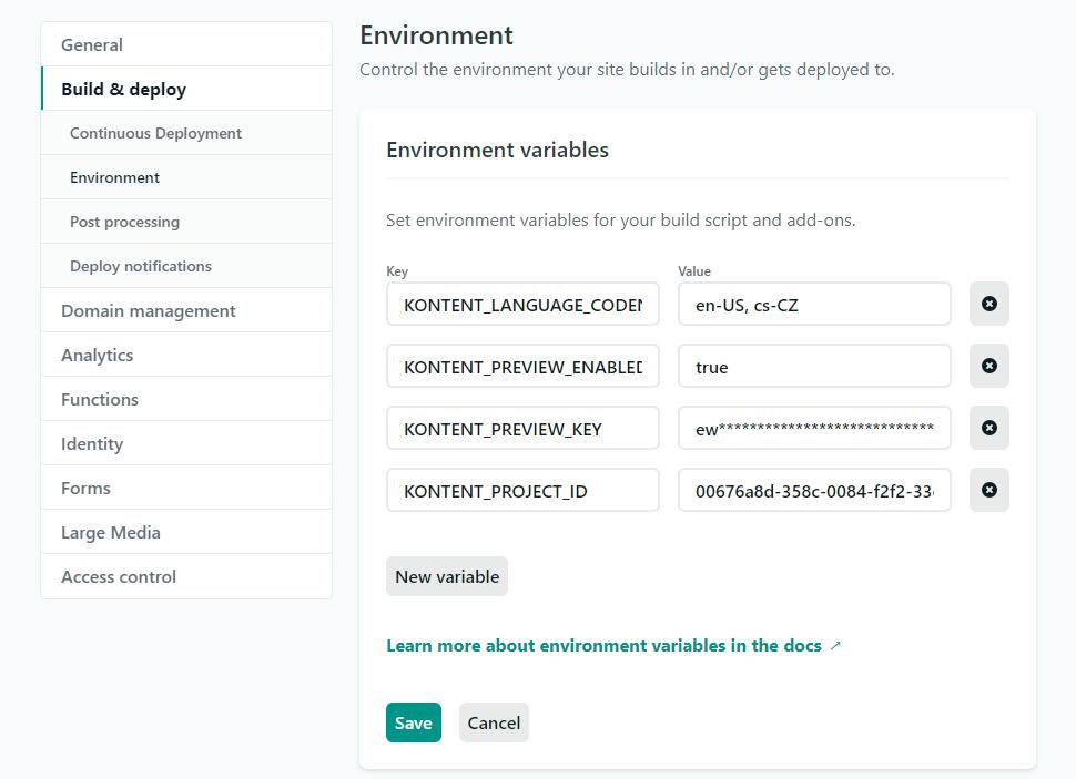 Netlify environment variables