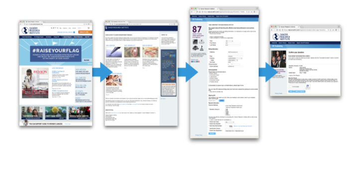 Cancer Research Institute Online Donation Process, Four Browser Windows