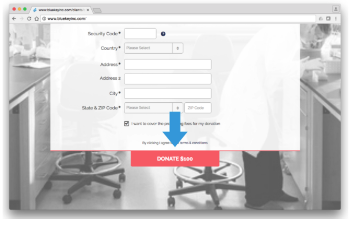 Cancer Research Institute Online Donation Process Form and Submit CTA