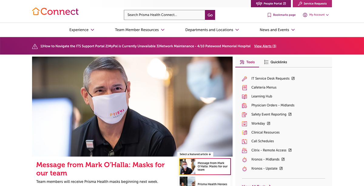 Screenshot of Prisma Health's new intranet, Connect.