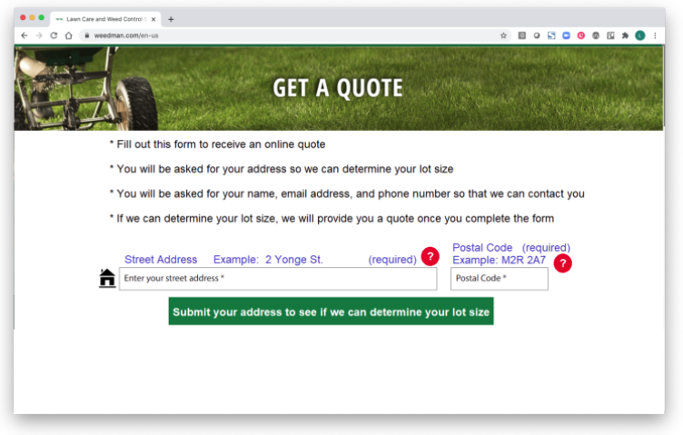 """Browser window with a form that says """"Get a Quote"""", with other instructions for users on how to fill out the form."""