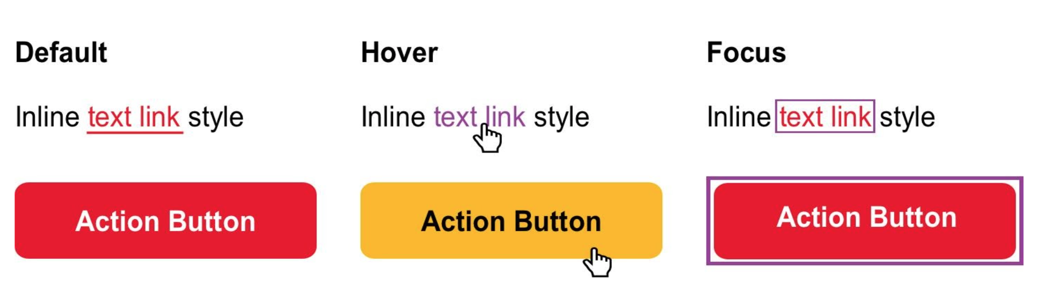 Default, hover, and focus state examples for a text link and button-style link.