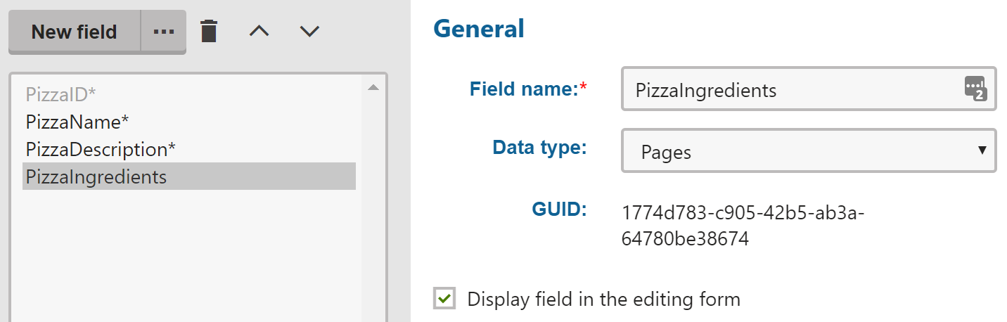 Pages type field definition with GUID