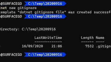 Creating a .gitignore file using the .NET Core SDK
