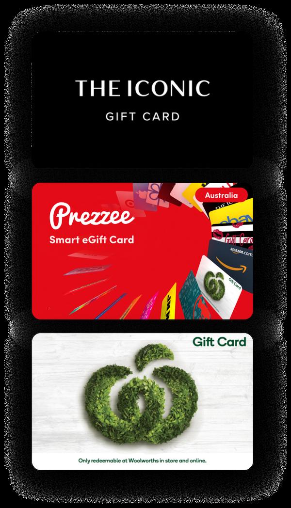 The Iconic eGift Card, Prezzee Smart eGift Card, Woolworths eGift Card