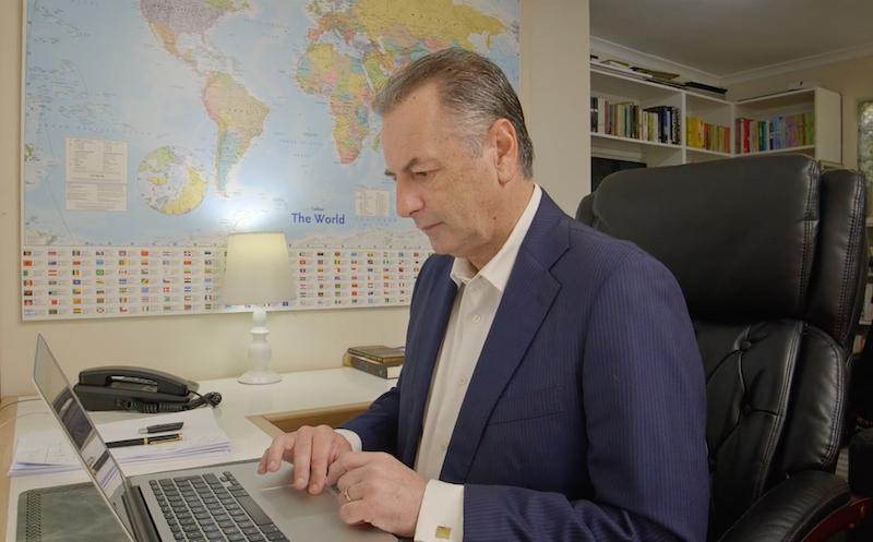 Jeremy Swartz working at a desk