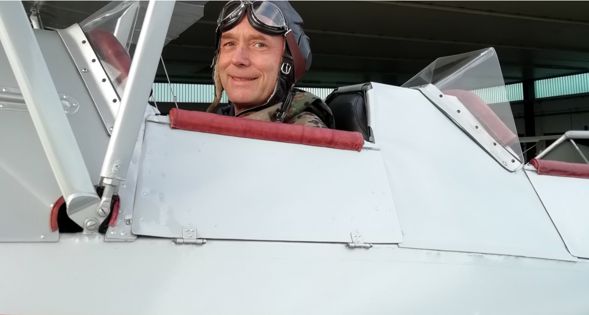 Martin Lobert, who leads PPG's EMEA coil coatings team, flying a plane as part of the German Air Force.