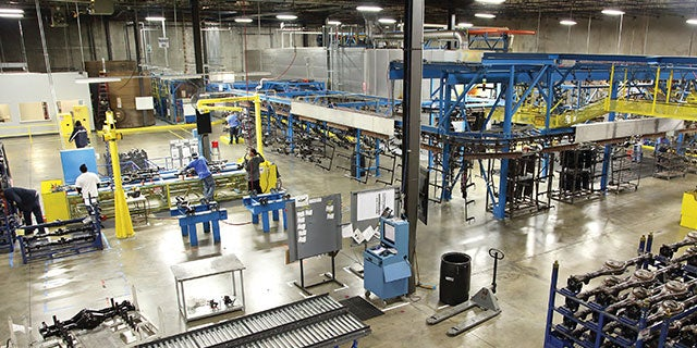Warehouse with PPG in-house paint shop management and equipment installation.