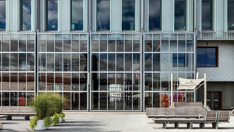 Close-up of Pier 17 at South Street Seaport's 20-foot-tall light boxes that compose most of the building's façade.