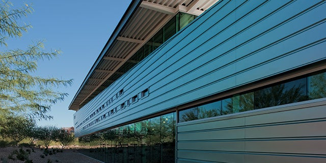 Exterior of the Appaloosa Branch Library in Scottsdale, Arizona, occupying four-and-a-half acres of Sonoran Desert.