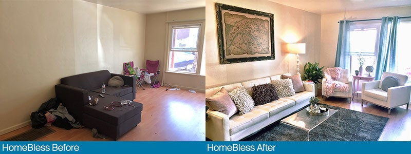 A before and after shot of a home makeover Vanessa gave, as part of her foundation HomeBless, to a woman who had experienced homelessness.