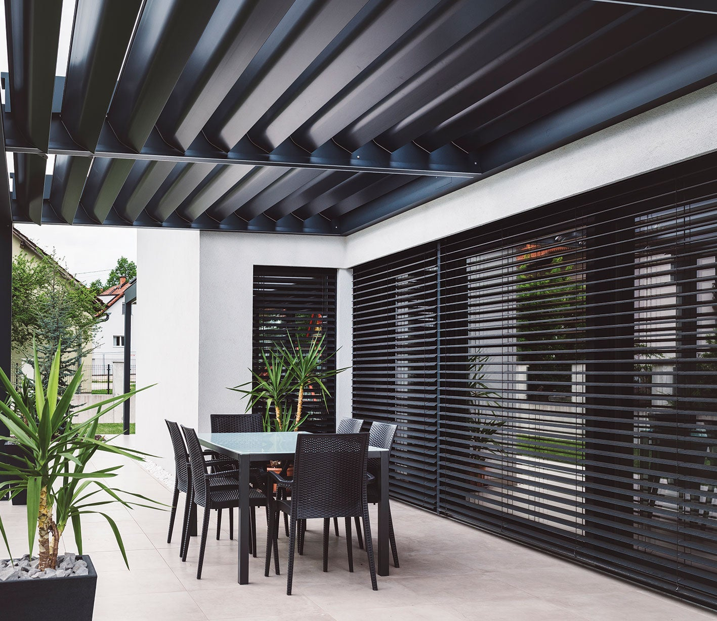 A residential house with a black veranda that has been coated with PPGs ENVIROCRON® PCS P4 Series to produce a matte finish.