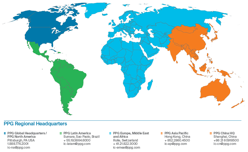 PPG has regional headquarters across the globe which means our representatives are ready to help you no matter where you are.