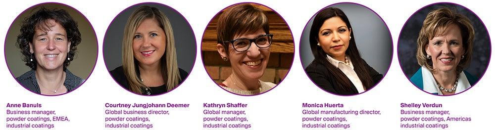 Five of PPG's women in powder coatings; Anne Banuls, Courtney Jungjohann Deemer, Kathryn Shaffer, Monica Huerta, Shelley Verdun.