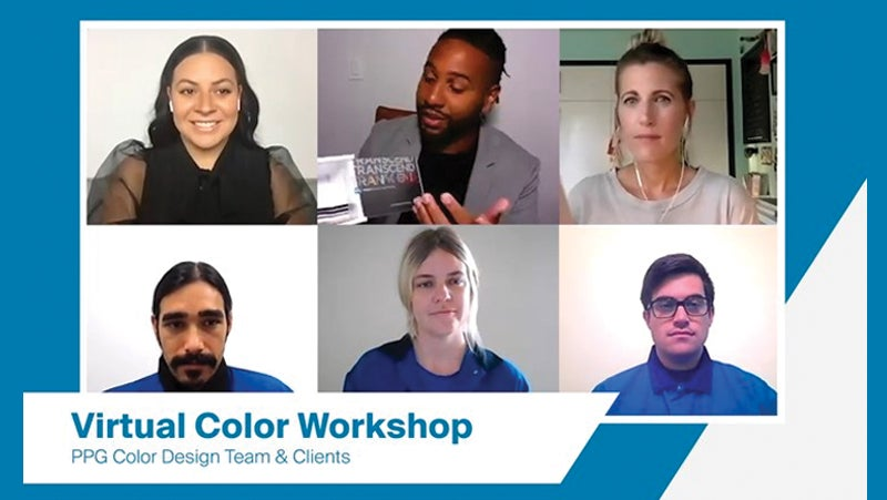 A screenshot of PPG's Color Design team working with clients on a virtual color workshop.
