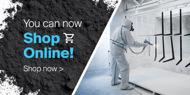 PPG technician wearing white painting overalls and spraying metal structures with PPG powder coatings, available to buy now.