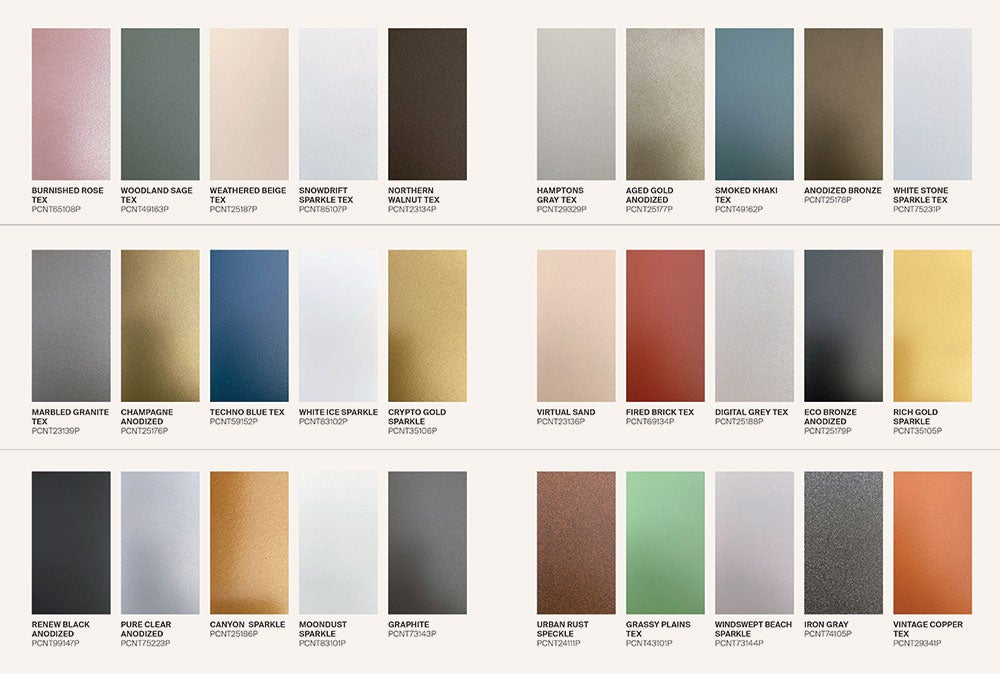 From dazzling champagne to woodland sage, PPG Coraflon Platinum's color palette has an ideal color for every project